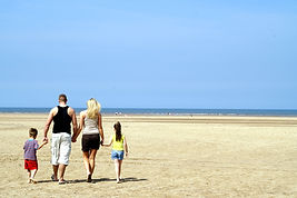 Family on the Normandy beach