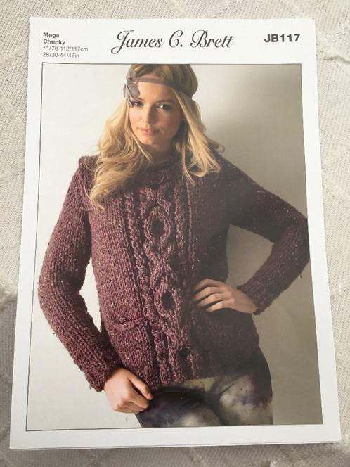 James Brett Mega Chunky Knitting Pattern Ladies Cable Knit Sweater
