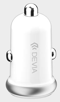Devia - 2.4A Mini Dual USB Port Car Adapter - White
