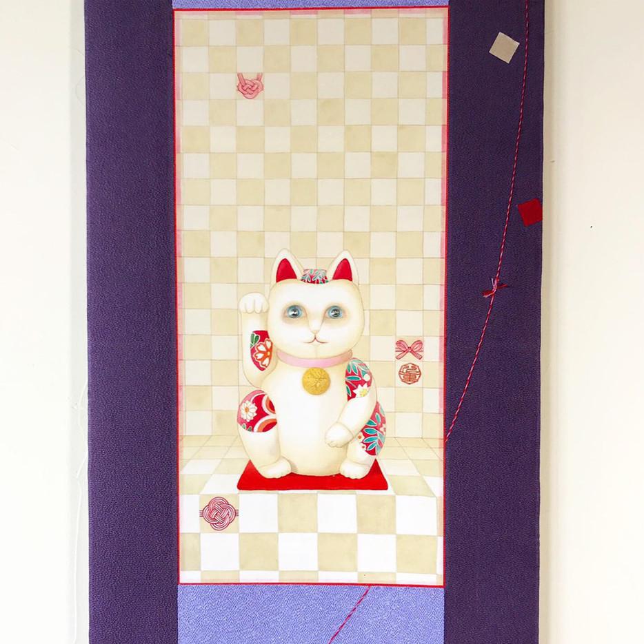 招き猫(絹絵部分)