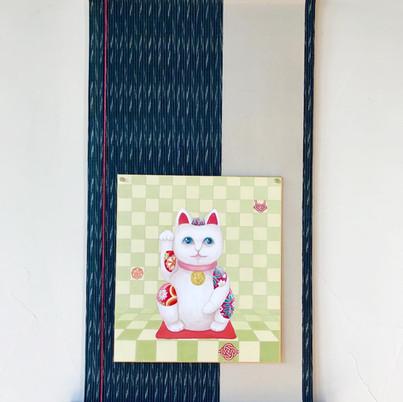 招き猫(色紙用掛け軸)