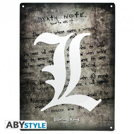 """DEATH NOTE - Plaque métal """"L Symbol"""""""