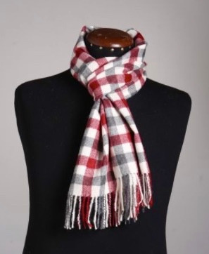 Red Checkered Baby Alpaca Scarf