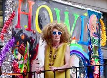Pride 2018 Hattie Hathaway with painting of Allen Ginsberg