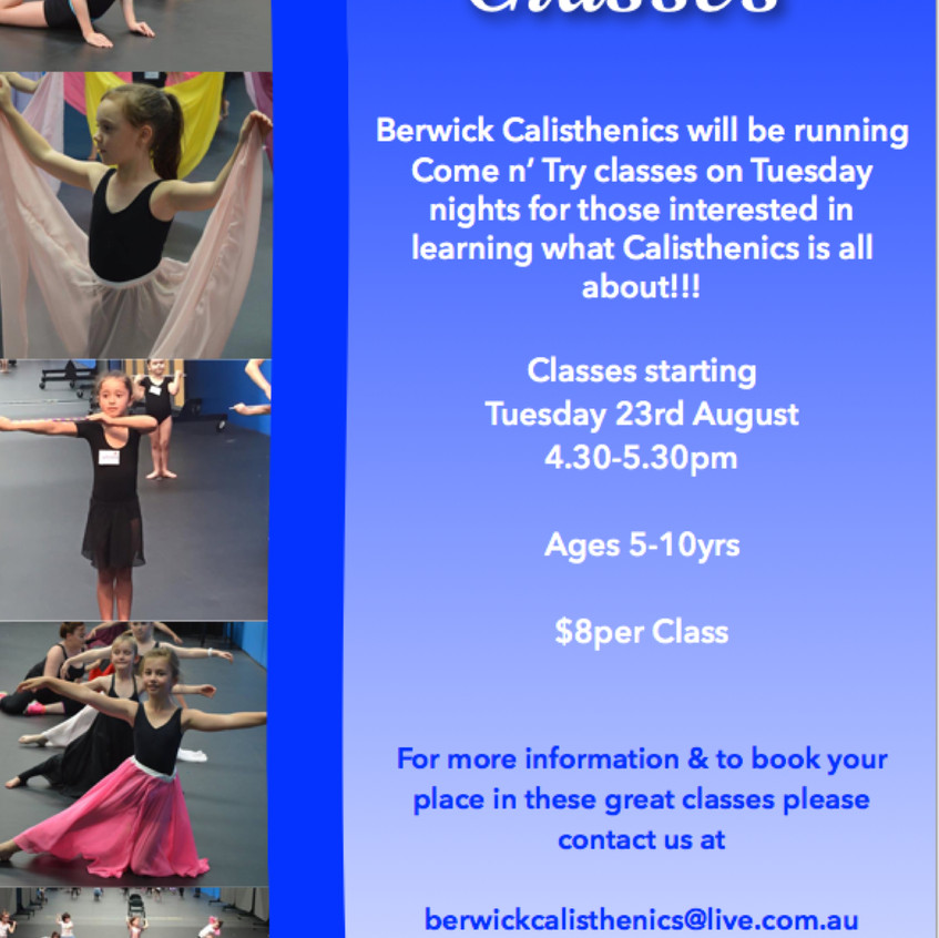 come n try classes 2016
