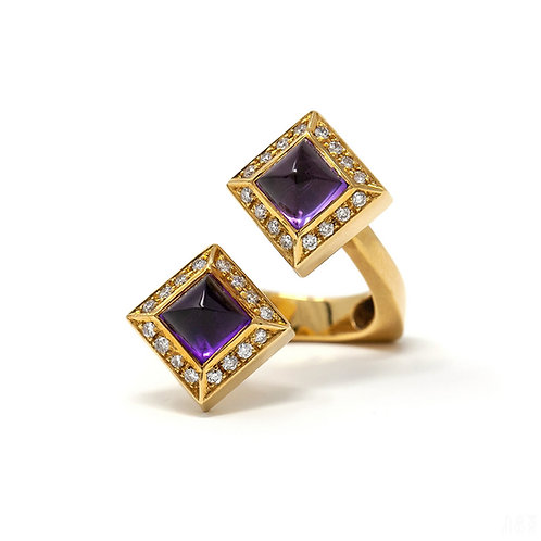 Two-Color Stone Ring - Amethysts