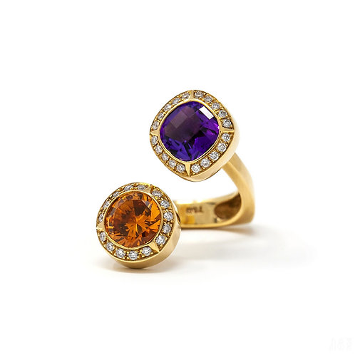 Two-Color Stone Ring - Citrine, Amethyst