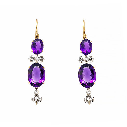 Fleur-De-Lis Amethyst Earrings