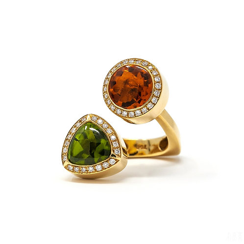 Two-Color Stone Ring - Citrine, Peridot