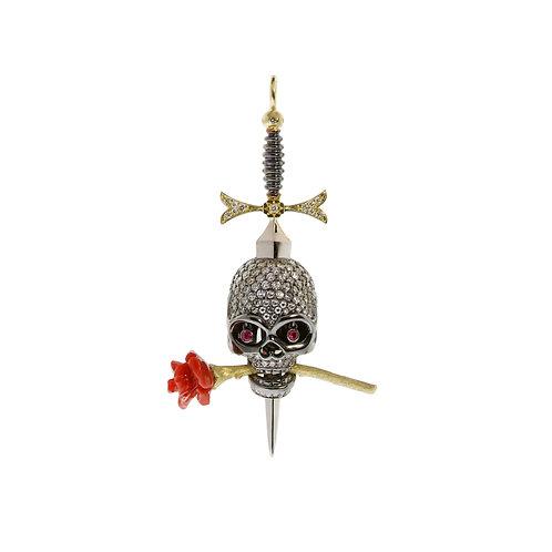 Skull Pendant with Diamonds