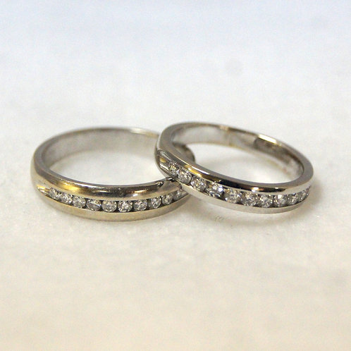 Matching White Gold Band Set