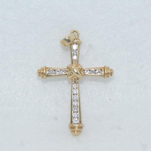 Gold & Diamond Cross Charm