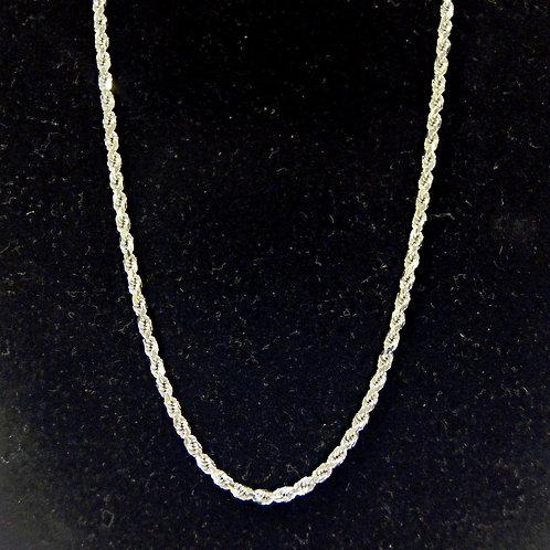 Unisex Rope Chain 10k White Gold