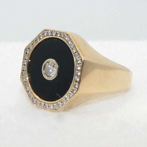Men's Diamond & Black Onyx Ring