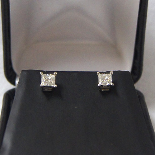 Unisex Princess Cut Diamond Studs