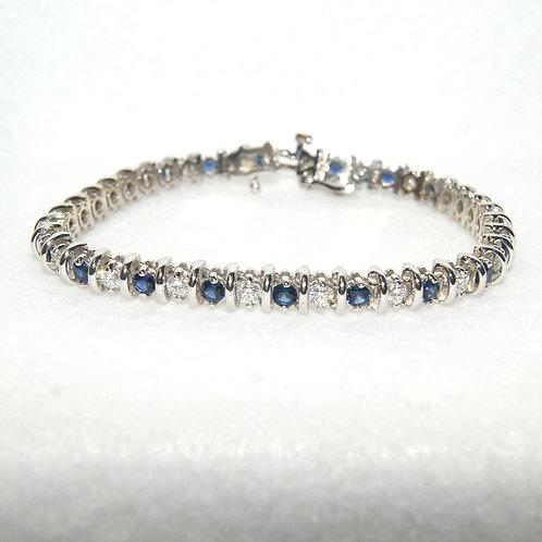 Women's Diamond and Sapphire Tennis Bracelet