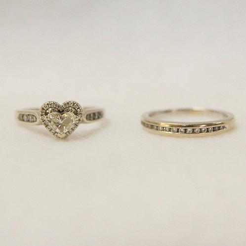 Women's Heart Cut Diamond Ring Set