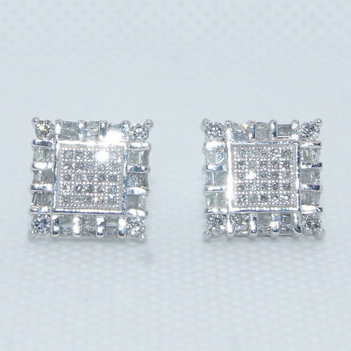 Round Baguette Square Mounted Earrings