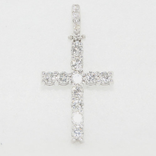14k White Gold & Diamond Cross Charm
