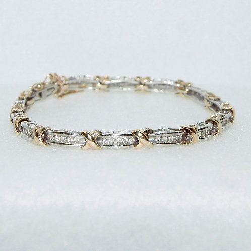 Women's Two Toned Gold Tennis Bracelet