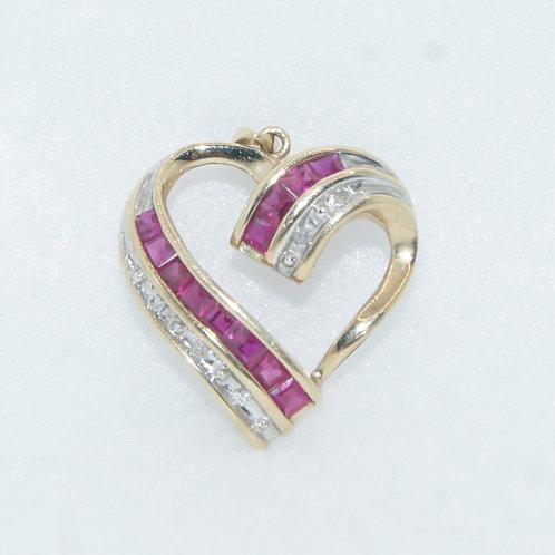 Diamond & Ruby Heart Charm