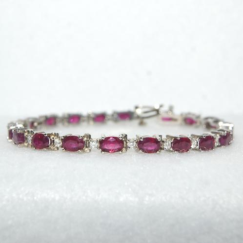 Women's Diamond and Ruby Tennis Bracelet