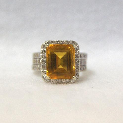 Women's Citrine and Diamond Ring