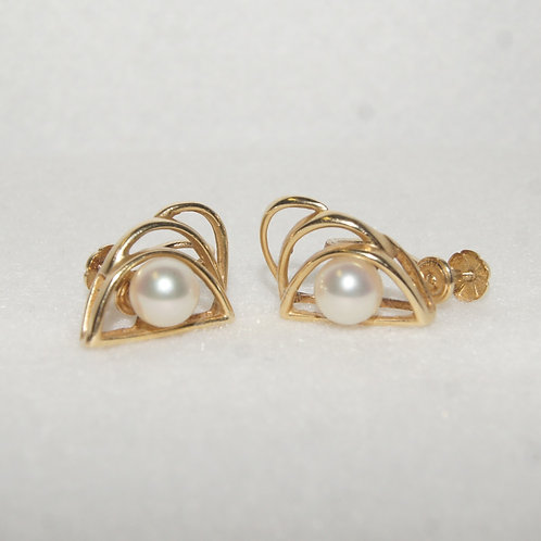 Women's Gold & Pearl Earrings