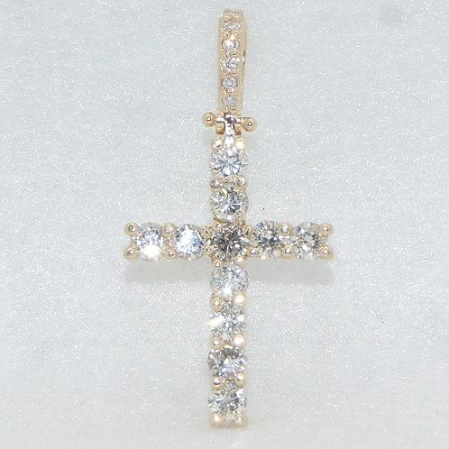 Yellow Gold & Diamond Cross Charm