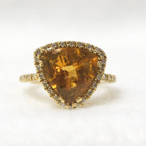 Women's Citrine Ring with Diamond Accents