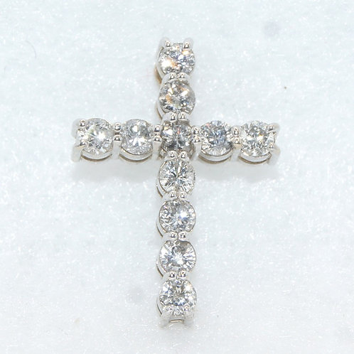 White Gold & Diamond Cross Charm
