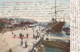Les Quais de Galata, Constantinople. 1900s