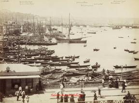 Vue des deux ponts et du port 47. 1890s.