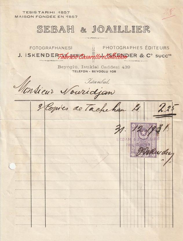 Facture 31 Decembre 1931