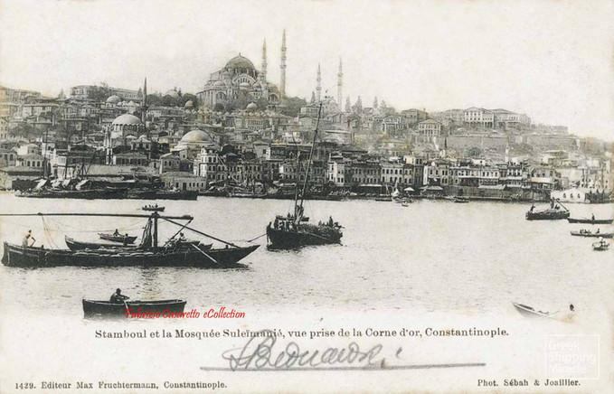 Stamboul et la Mosquee Suleymanie, vue prise de la Corne d'Or, Constantinople. 1890s