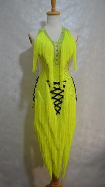 ラテンドレス黄色フリンジ