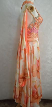 スタンダードドレス花オレンジ