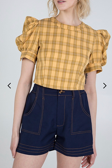 Checked puff shoulder top