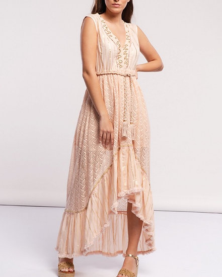 Pink and gold maxi
