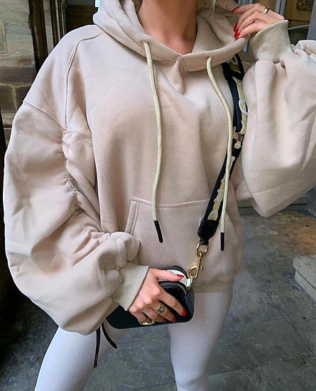 Camel ruched hoodie