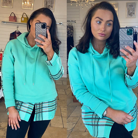 Mint checked hoodie