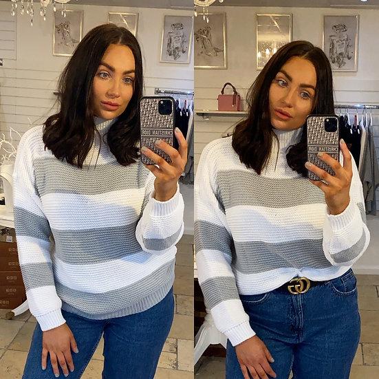 Grey striped knit
