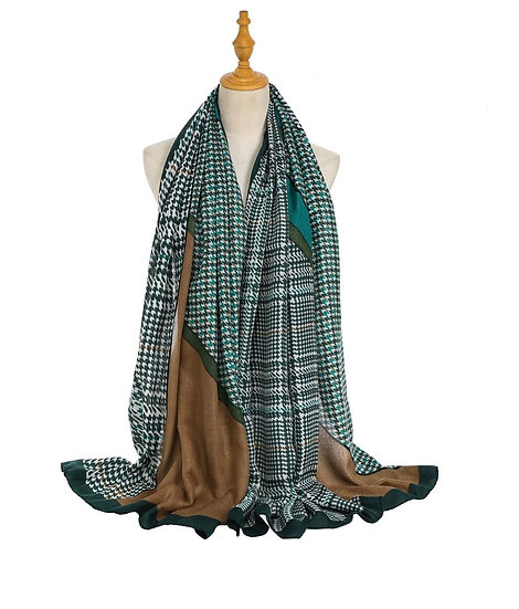 Green & Brown cotton scarf
