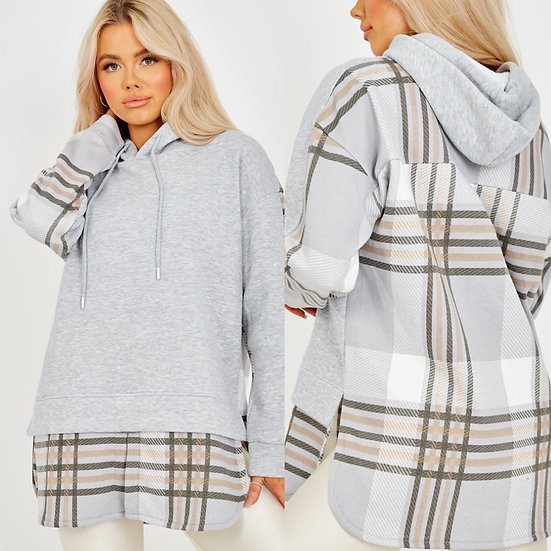 Grey checked hoodie