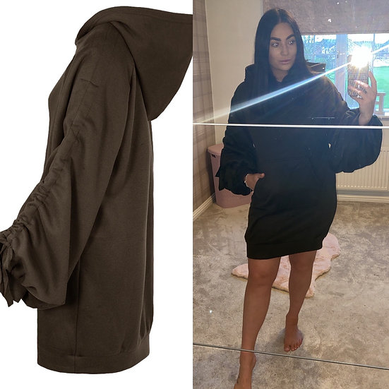 Khaki longline ruched hoodie