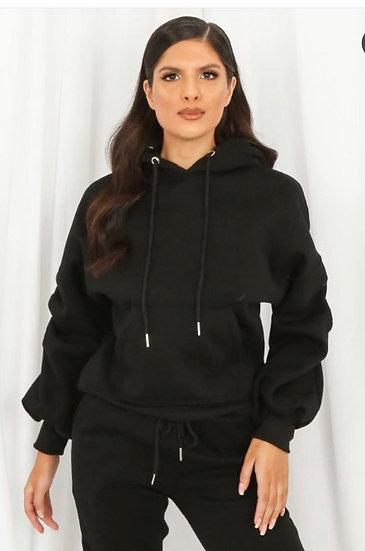 Black ruched sleeve hoodie