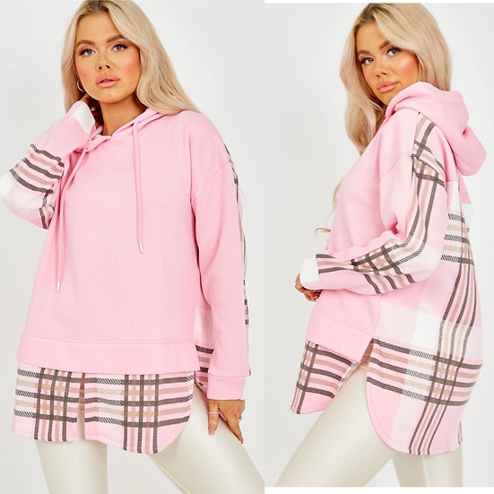 Pink checked hoodie