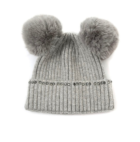 Double grey pom pom hat