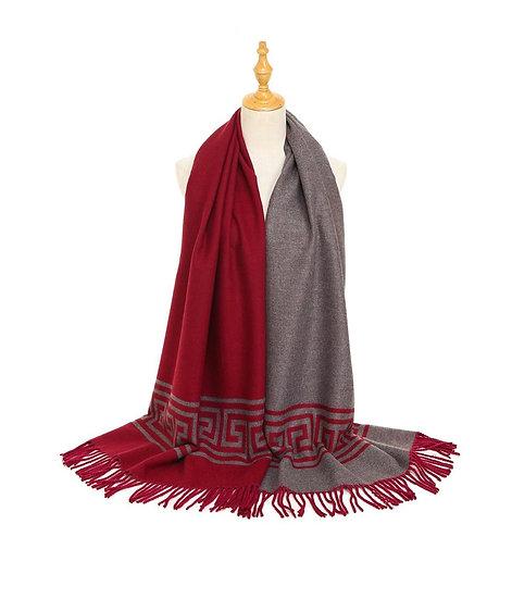 Reversible burgandy & grey scarf
