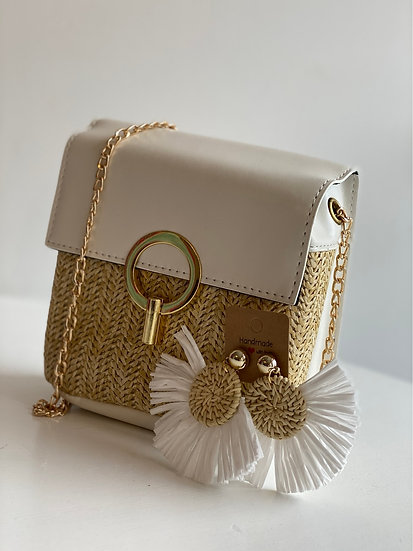 Straw bag & earring set